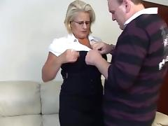 Mature blonde rides a cock after getting her pussy licked