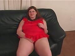 Horny BBW Plays With Herself and Then Sucks her Man Off