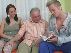 Old and Young, Blowjob, Brunette, MMF, Sofa, Threesome