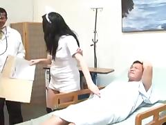 Brunette nurse Vanessa Naughty enjoys a gangbang in hospital