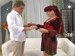 Mature lady with a red haired pussy gets balled
