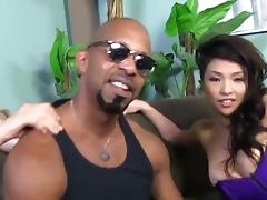 Interracial threesome with an Asian girl, White Guy and Black Guy