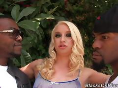 Nasty Blonde Gets Hardcore Interracial Sex With Two Black Buddies