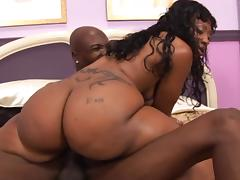 Chubby ebony milf is so out of her mind, to get that thick monster