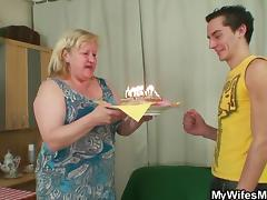 birthday cake and a surprise from my wifes mom porn video