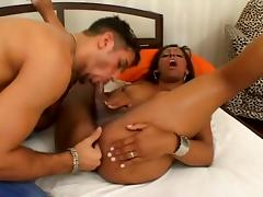 Lewd tranny Miriany Ribeiro bangs her BF's ass after they pet each other
