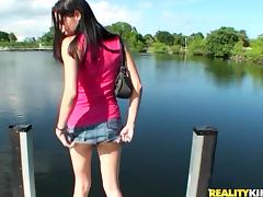 POV video with slim Rachel Rose getting nailed on a pier