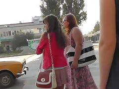 Upskirt public scene with young Russian teen