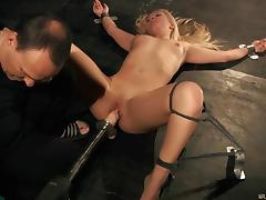 Lianna spanked hard and drilled by huge dildo