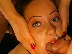 Cum-swallowing scene with beauty brunette Susanne
