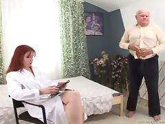 Redhead doctress sucks and rides old dick in a bedroom