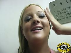 Big Titted Blonde Gives an Interracial Gloryhole Blowjob