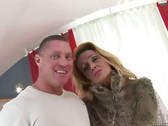Mature lady is inviting him in her hairy pussy