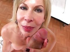 Long-haired blonde Erica Lauren is sucking a big dick