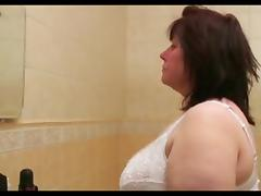 Big Beautiful Woman granny receives off in the bath