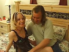 Skinny mature blonde sucks a cock before taking it in her cunt