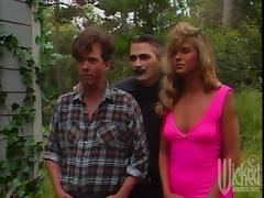 Samantha York gets fucked from behind by the cellar door in retro video