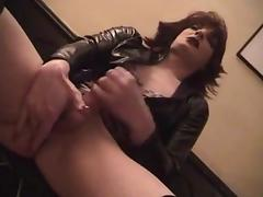 Horny crossdressers in latex suck & fuck in a pub