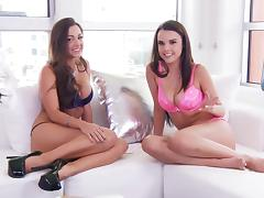 Abigail Mac and Dillion Harper are posing