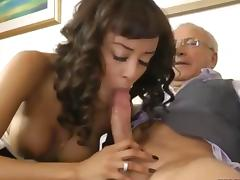 Euro ebony whore fucks a balding geezer