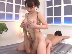 Mao Kurata gives erotic massage and rides a dick