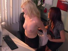 Succulent Elaina Raye And Kaylani Lei Have Sex At The Office