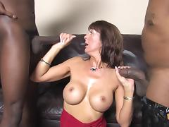 White MILF with fake tits has wild threesome with Blacks