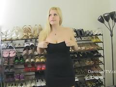 Pornstar Hottie Flashes Her Tits and Pussy Trying on High Heels