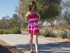 Casey pleases herself with fingering in outdoors solo sex video