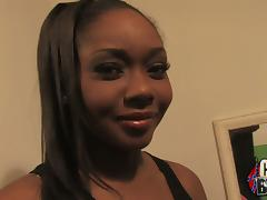 A beautiful ebony babe sucks white dicks and gets facialed