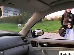 Student gives blowjob in car in public
