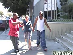 Two black hommies are fucking Katie Thomas