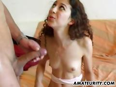 Amateur arab girlfriend sucks and fucks with cum