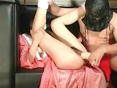 Masked guy fucked slut's muff with a sex toy