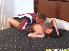 A brunette with big nipples rubs her pussy and gets pounded