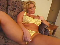 Big boobs blonde MILF shagged by ugly bald guy