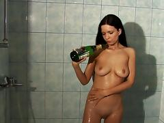 Bottle, Bathroom, Bottle, Brunette, Masturbation, Shaved Pussy