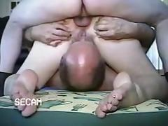 Husband sucks cunt while wife is fucked anally