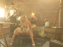 Angel Cassidy rides a dick in a sex video in the style of 50's