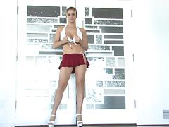 Danielle dances near a pole after masturbating her pussy