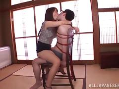 Pretty Japanese Girl Slams Her Hairy Pussy Onto His Cock