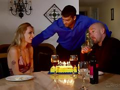 birthday party and sex with his wife and a friend porn video