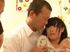 Chika Kitano gets her Japanese cunt toyed and fucked hard by two men