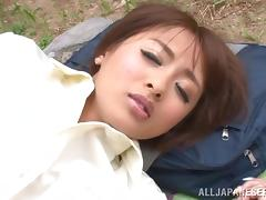 Skinny Yuuki Natsume sits on guy's face and rides a dick outdoors