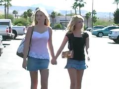 Alison Angel and her blonde GF go shopping in hot reality video