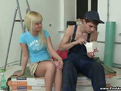 Slutty blonde Emma seduces a house painter and has anal sex with him