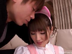 Alluring Asian teen Tsubasa Amami gets rear fucked for a cumshot