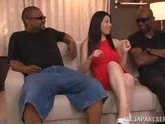 Sexy Japanese angel is going for two black men