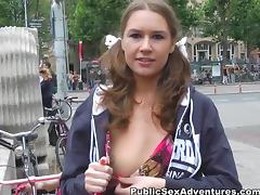 Real funny girl goes for outdoor hard anal