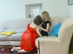 Russian slut Judith having Sapphic strapon fun